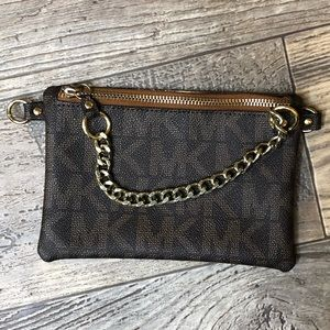 Michael Kors Monogram Gold Chain Clutch
